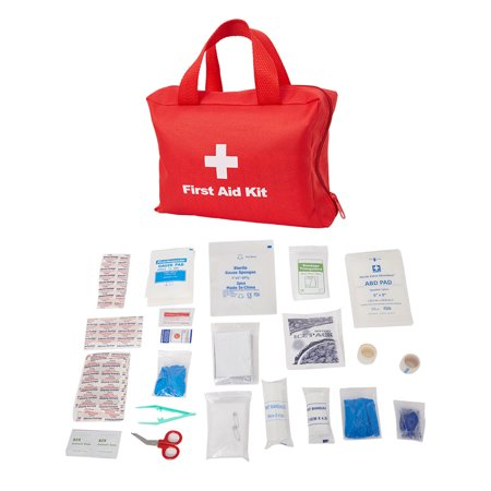KARMASFAR PRODUCT Compact First Aid Kit Medical Emergency Bag fully stocked with essential supplies for Camping, Hiking, Travel, Office, Sports ()
