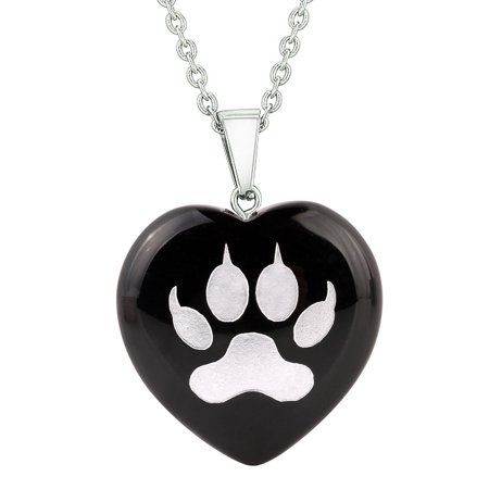 Amulet Wolf Paw Courage Magical Powers Protection Energy Black Agate Puffy Heart Pendant 22 Inch - Agate Puff