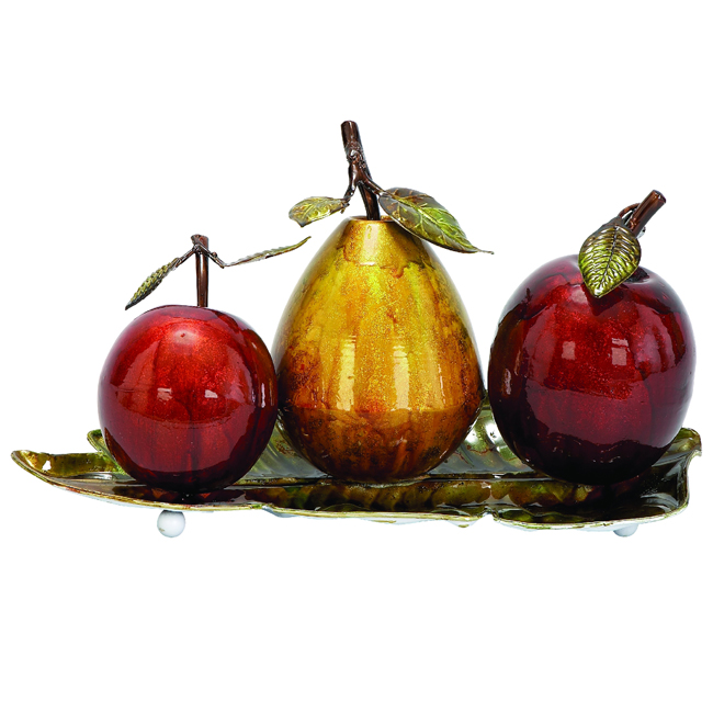 Urban Designs Glazed Metal Artificial Fruit Centerpiece Decor