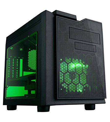 Desktop Pc Case, Green Led Fan Flip Open Design Dust Filter Desktop Pc Tower