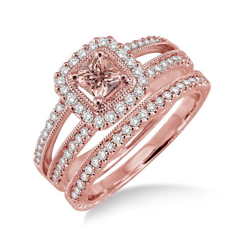 1.50 Carat Morganite & Diamond Antique Bridal set Halo Ring in 10k Rose Gold affordable wedding bridal ring set by JeenMata