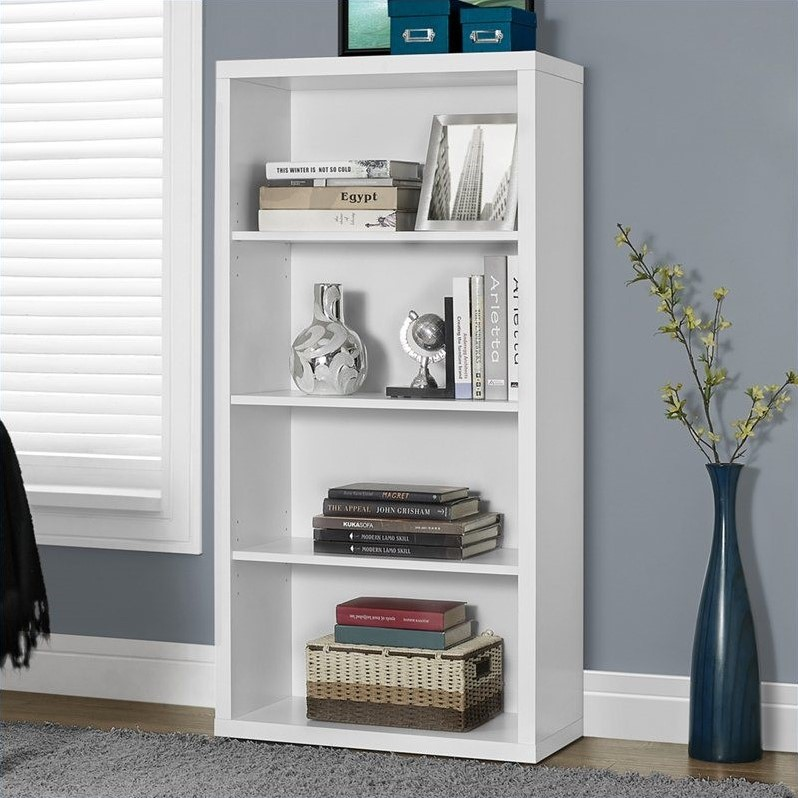 """Monarch Bookcase 48""""H / White With Adjustable Shelves"""