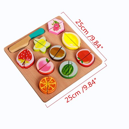 Wooden Fruit and Vegetables Play Kitchen Food for Pretend Cutting Food Toys Educational Playset with Toy Knife, Cutting Board Kids Children Christmas Gift - image 2 of 6