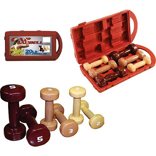 Cap Barbell 20 Lb Vinyl Dumbbell Set W Carry Case