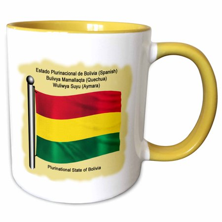 3dRose Bolivian flag waving on flagpole on a yellow background. Bolivia in four national languages - Two Tone Yellow Mug, 11-ounce