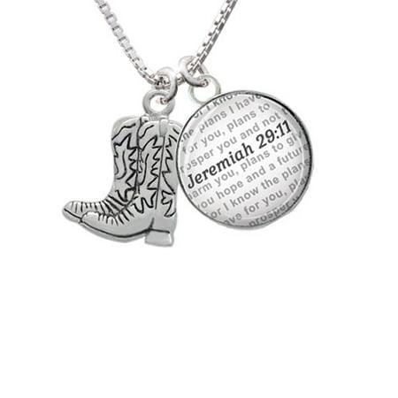 568e9d164d0 Delight Jewelry - Cowboy Boots - Bible Verse Jeremiah 29:11 Glass ...