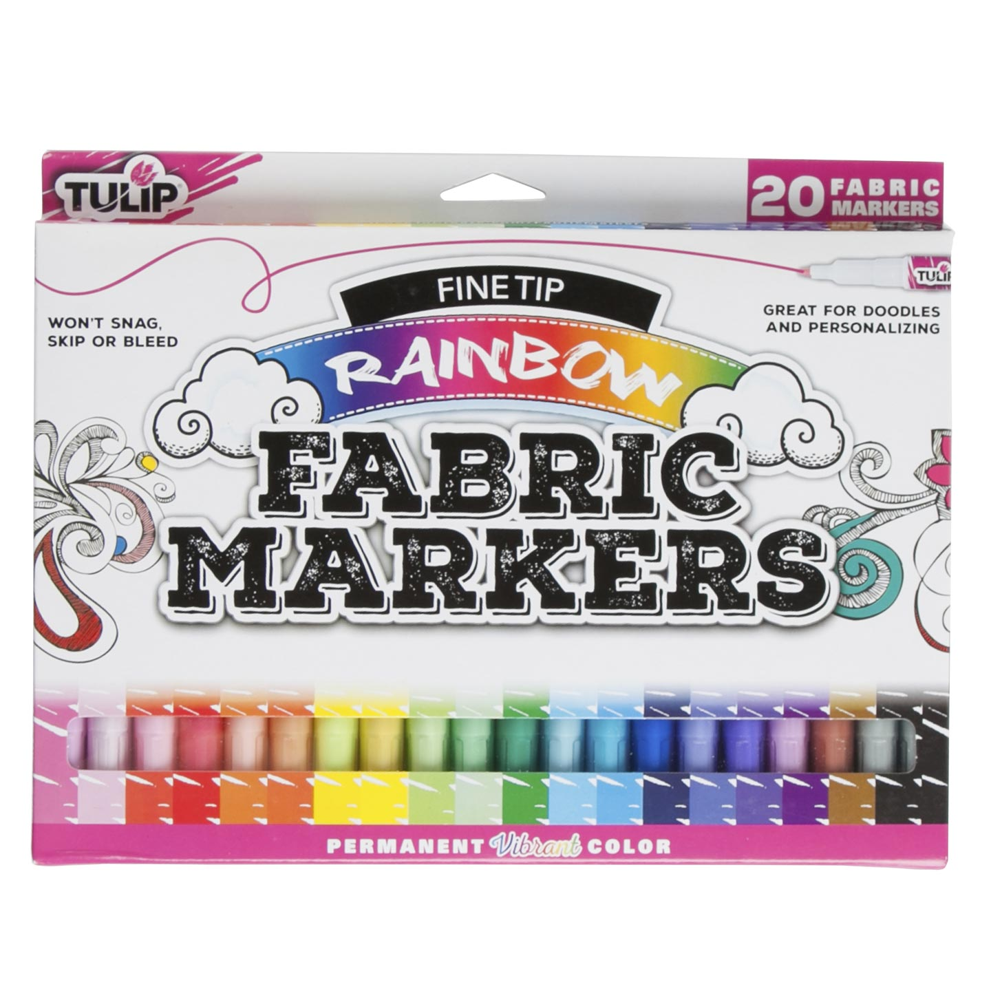 Tulip Fine Tip Fabric Markers: Rainbow, 20 pack
