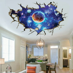 3D Floor Wall Stickers Planet Outer Space Children Bedroom Living Room Wall  Decals Sticker Home Decoration Removable