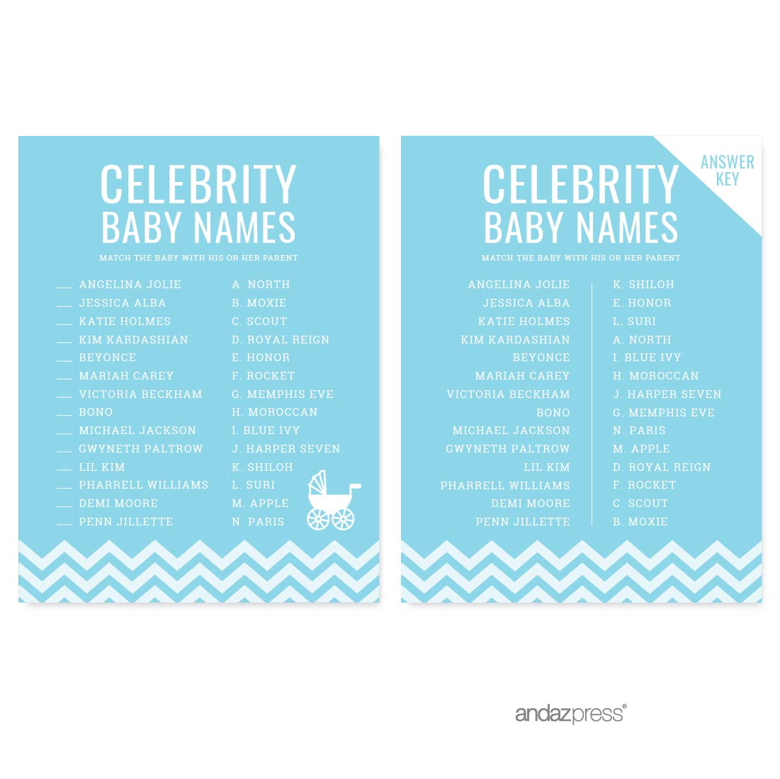 Celebrity Name Game Baby Blue Chevron Baby Shower Games, 20-Pack