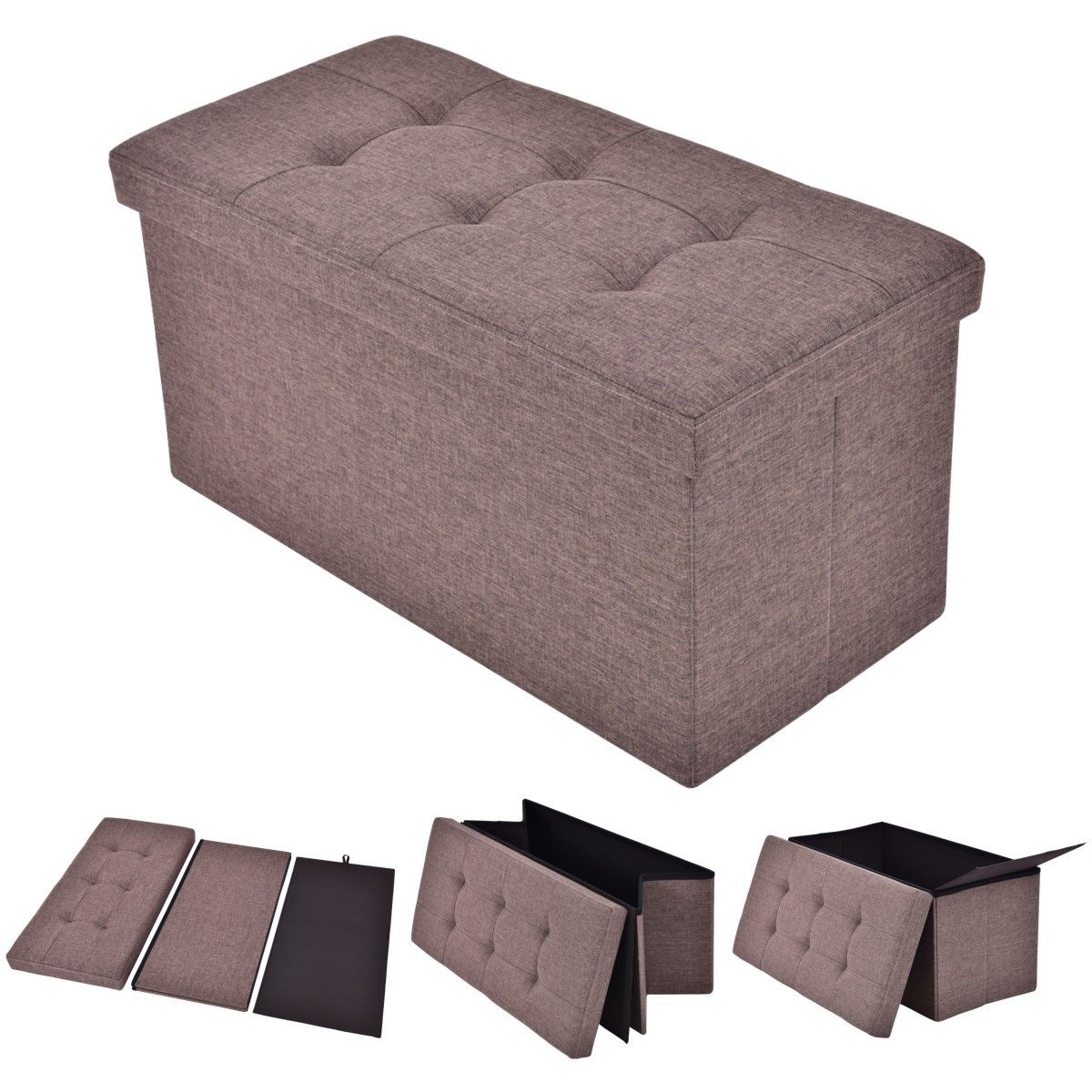 Costway Folding Rect Ottoman Bench Storage Stool Box Footrest Furniture Decor Brown