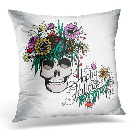 ECCOT Colorful Autumn Halloween Hand Drawn with Skull in Flowers Bone Pillowcase Pillow Cover Cushion Case 18x18 inch (Halloween Bones Clip Art)