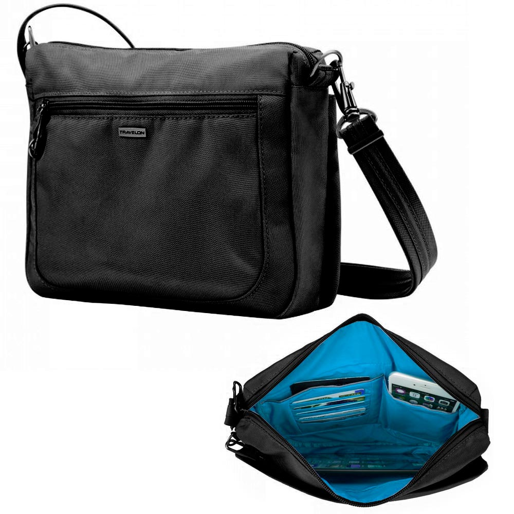 Travelon Anti-Theft Classic Small Crossbody Messenger Bag RFID Blocking Purse