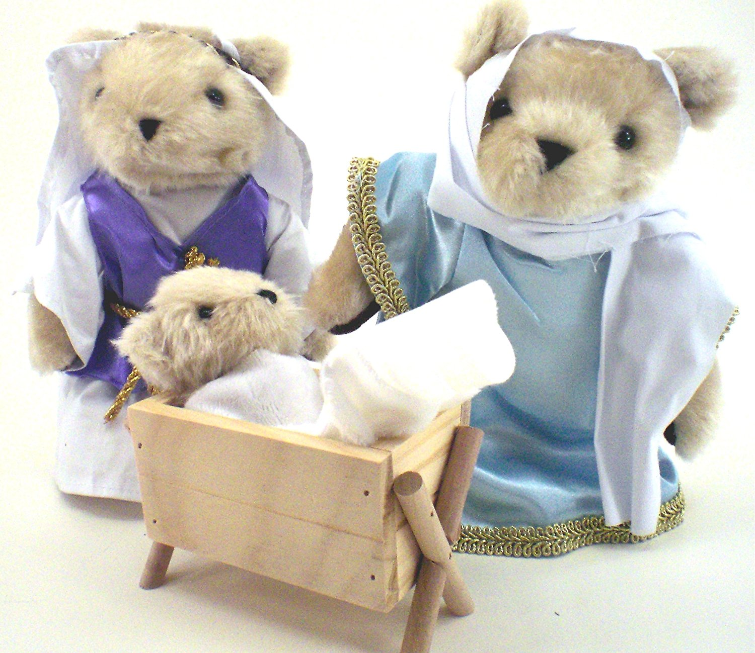 A Teddy Bear Christmas Nativity Set, Joseph, Mary And Baby Jesus In Manger by DENTT