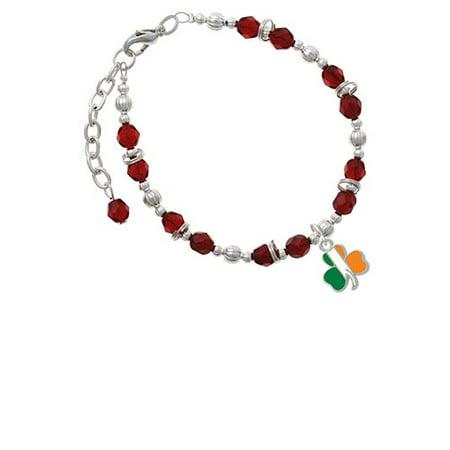 (2-D Irish Flag Shamrock Maroon Beaded Bracelet)