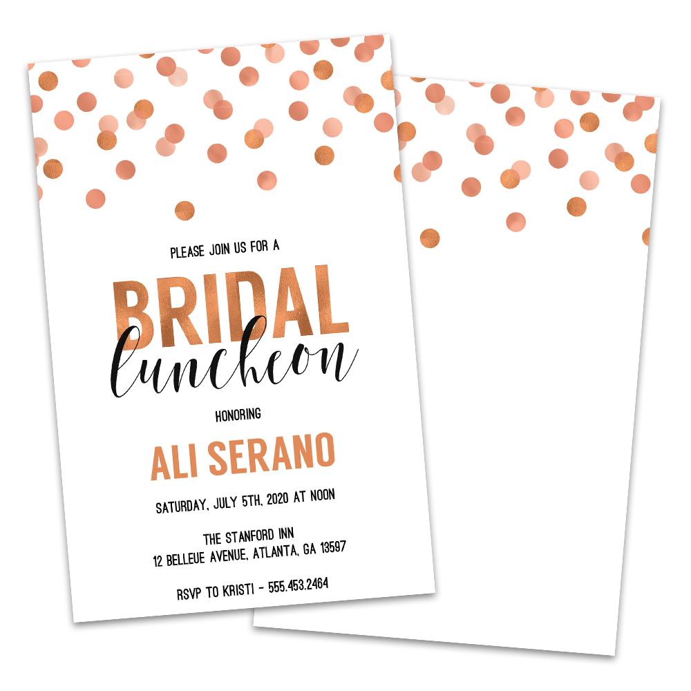 Personalized Copper Dots Bridal Luncheon Invitations