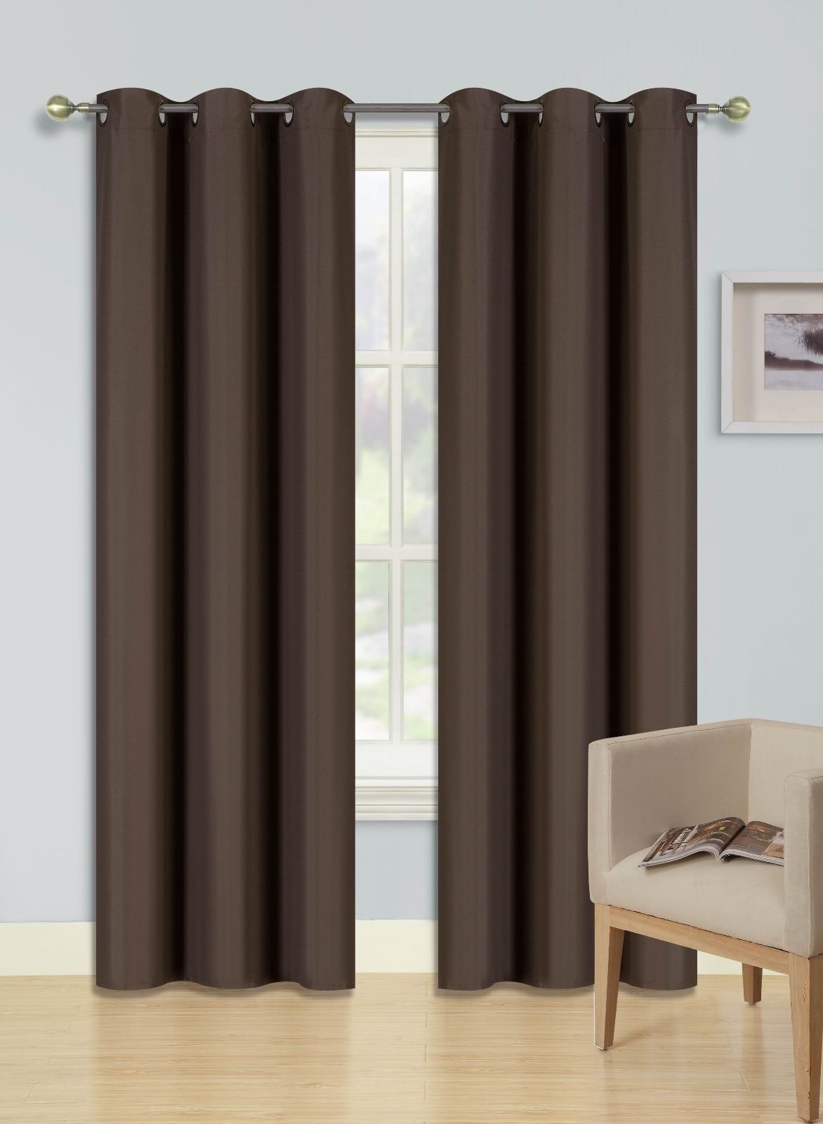 """(SSS) 2-PC Brown Solid Blackout Room Darkening Panel Curtain Set, Two (2) Window Treatments of 37"""" Wide x 84""""... by"""
