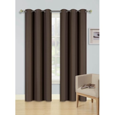 (SSS) 2-PC Brown Solid Blackout Room Darkening Panel Curtain Set, Two (2) Window Treatments of 37