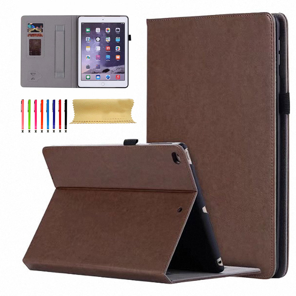 """iPad mini 4 Case, Goodest Slim Fit Vintage Leather Slim Fit Folio Stand Smart Shell Auto Sleep Wake Protection Hand Strap Pencil Holder Shockproof Wallet Case for Apple iPad mini 4th Gen 7.9"""", Brown"""