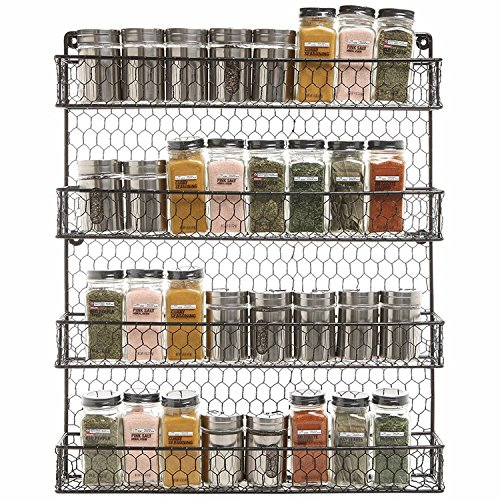Wall Mount 4 Tier Metal Spice Rack Kitchen Metal Wire Spice Organizer Pantry Cabinet Chicken Wire Hanging Spice Storage Organizer Black
