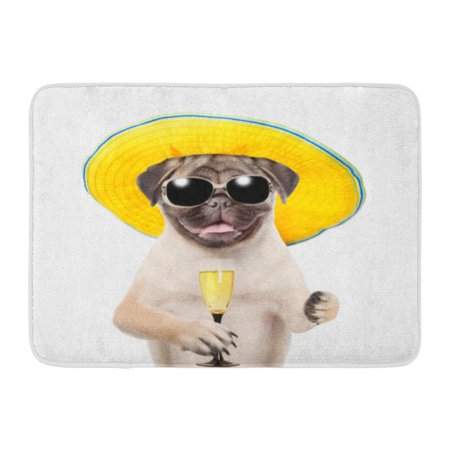 GODPOK Paw Hat Funny Summer Dog in Sunglasses with Glass of Champagne White Fun Pet Rug Doormat Bath Mat 23.6x15.7 (Bath Fixture Champagne Seeded Glass)
