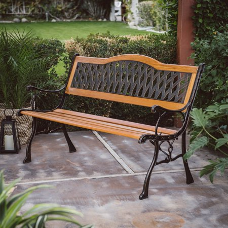C Coast Fara Wood And Metal 50 In Curved Back Garden Bench