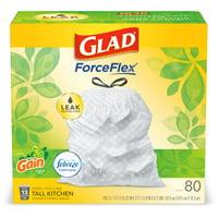 Glad Tall Kitchen Trash Bags, 13 Gallon, 80 Bags (ForceFlex, Gain Original)