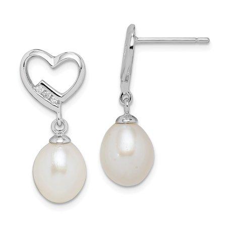 2728fd9b7 JewelryWeb - Sterling Silver Rhod-plat 7-8mm White Rice Freshwater Cultured  Pearl Cubic Zirconia Earrings - Walmart.com