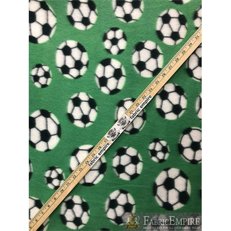 Fleece Fabric Printed *SOCCER BALL GREEN* By the Yard ()