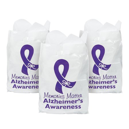 Fun Express - Alzheimers Awareness Bags (50pc) - Party Supplies - Bags - Plastic Bags - 50 - Breast Cancer Awareness Favors