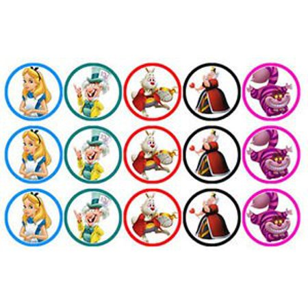 Alice In Wonderland Cake Decorations (15 ALICE IN WONDERLAND EDIBLE WAFER PAPER CUPCAKE CAKE DECORATION IMAGE)