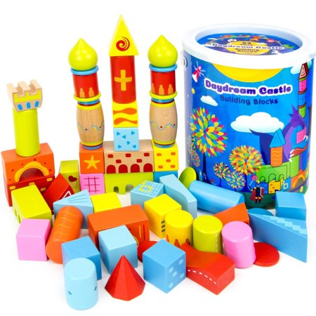52-piece Daydream Castle Premium Wood Building Blocks with Fun Patterns and Unique Shapes by, 52 fantastical wooden blocks covered in crazy colors and patterns and cut.., By Imagination Generation