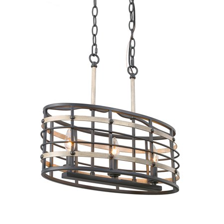 LNC 3-Light Farmhouse Chandeliers Pendant Lights for Indoor Home Decro, Faux Wood and Black Iron Finishes Fench Country Lights, Kitchen Island Lightings for Dining - Country Six Light Island