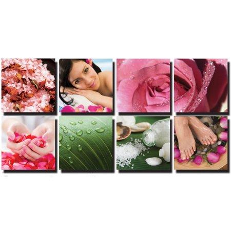FRESH 8 Pc Beauty Salon Spa Massage Decal Decoration 24 x 24 Canvas Mural CM-FP - Salon Decorations