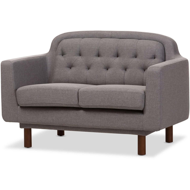 Baxton Studio Virginia Mid-Century Modern Light Grey Fabric Upholstered Walnut Wood Button-Tufted 2-Seater Loveseat... by