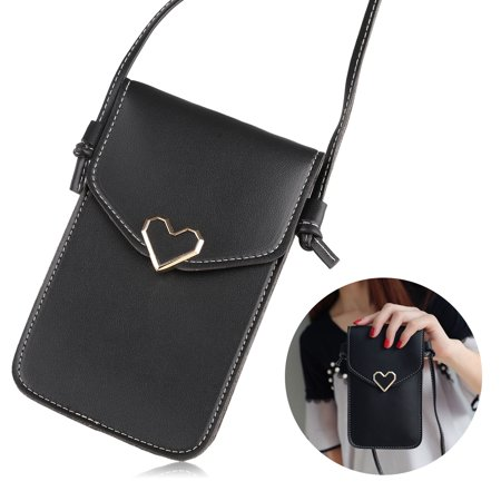 PU Leather Phone Shoulder Bag, Small Crossbody Bag with 2 Layers, Cell Phone Purse Smartphone Wallet with Shoulder Strap Handbag (Black/Pink)