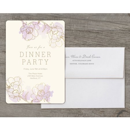 Floral Line Work Deluxe Party Dinner Invitation