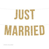 Gold Just Married Glitter Banner (Includes String, No Assembly Required)