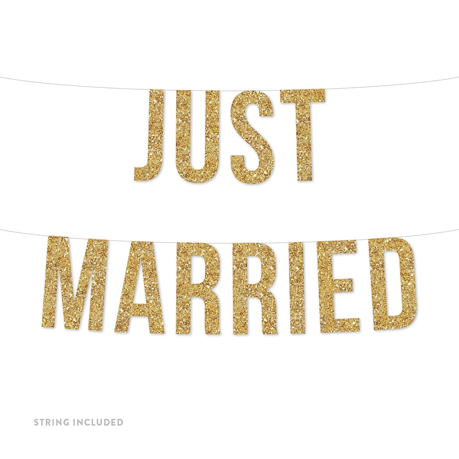 Gold Just Married Real Glitter Paper Pennant Hanging Banner Includes String No Assembly Required