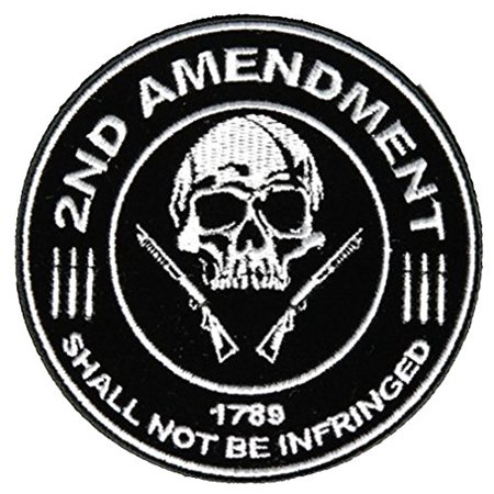 Shotgun Patch - 2ND AMENDMENT 1789 SHALL NOT BE INFRINGED SKULL SHOTGUNS ROUND PATCH - Color - Veteran Owned Business.