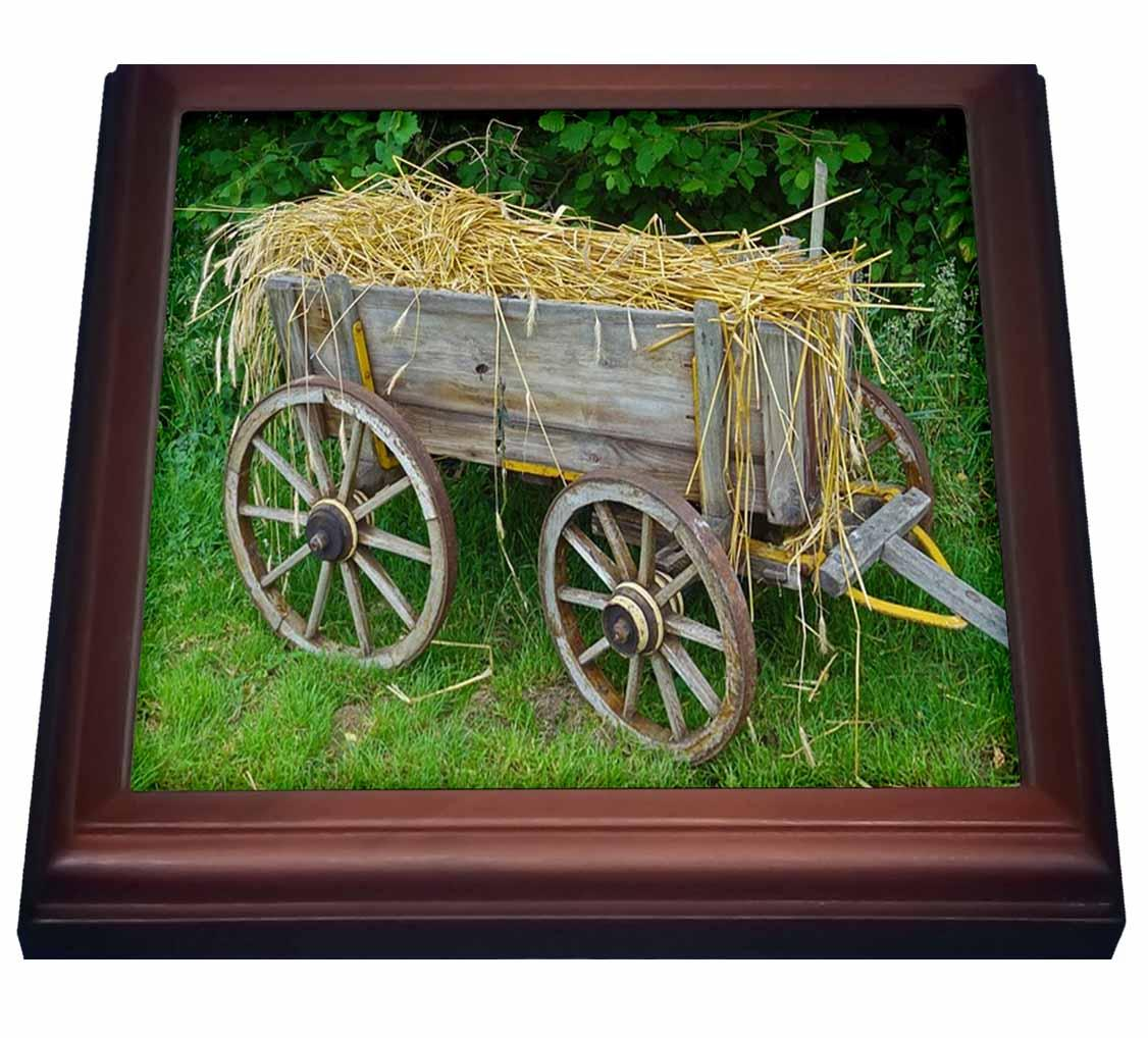 3dRose Print of Old Country Hay Wagon, Trivet with Ceramic Tile, 8 by 8-inch