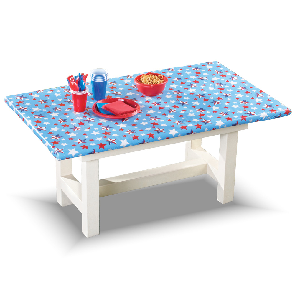 "Americana Stars 4th of July Outdoor Party Elastic Wipe Clean Flannel-backed Tablecloth Cover Decoration, 72"" X 30"", Navy"