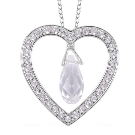 From the Valentine Heart White Made with Swarovski Crystal Valentine Heart Teardrop Pendant Necklace 925 Sterling Silver in 14K Rose Gold Plated 18