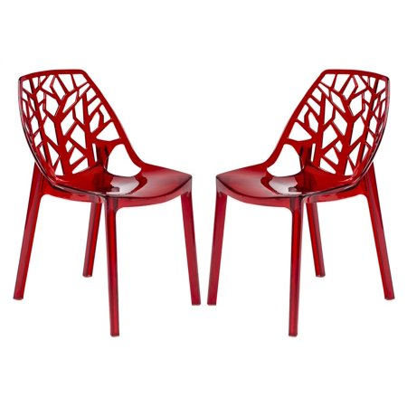 Modern Dining Chair in Transparent Red - Set of 2 ()