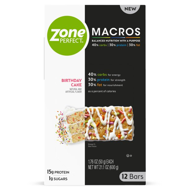 ZonePerfect Macros Nutrition Bars, Birthday Cake, 12 count ...