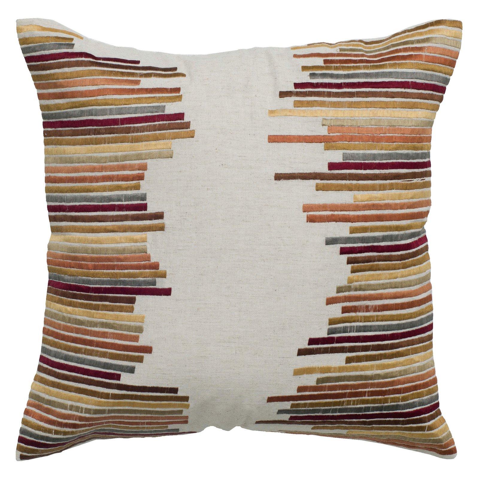 """Rizzy Home Decorative Poly Filled Throw Pillow Stripe 18""""X18"""" Khaki"""