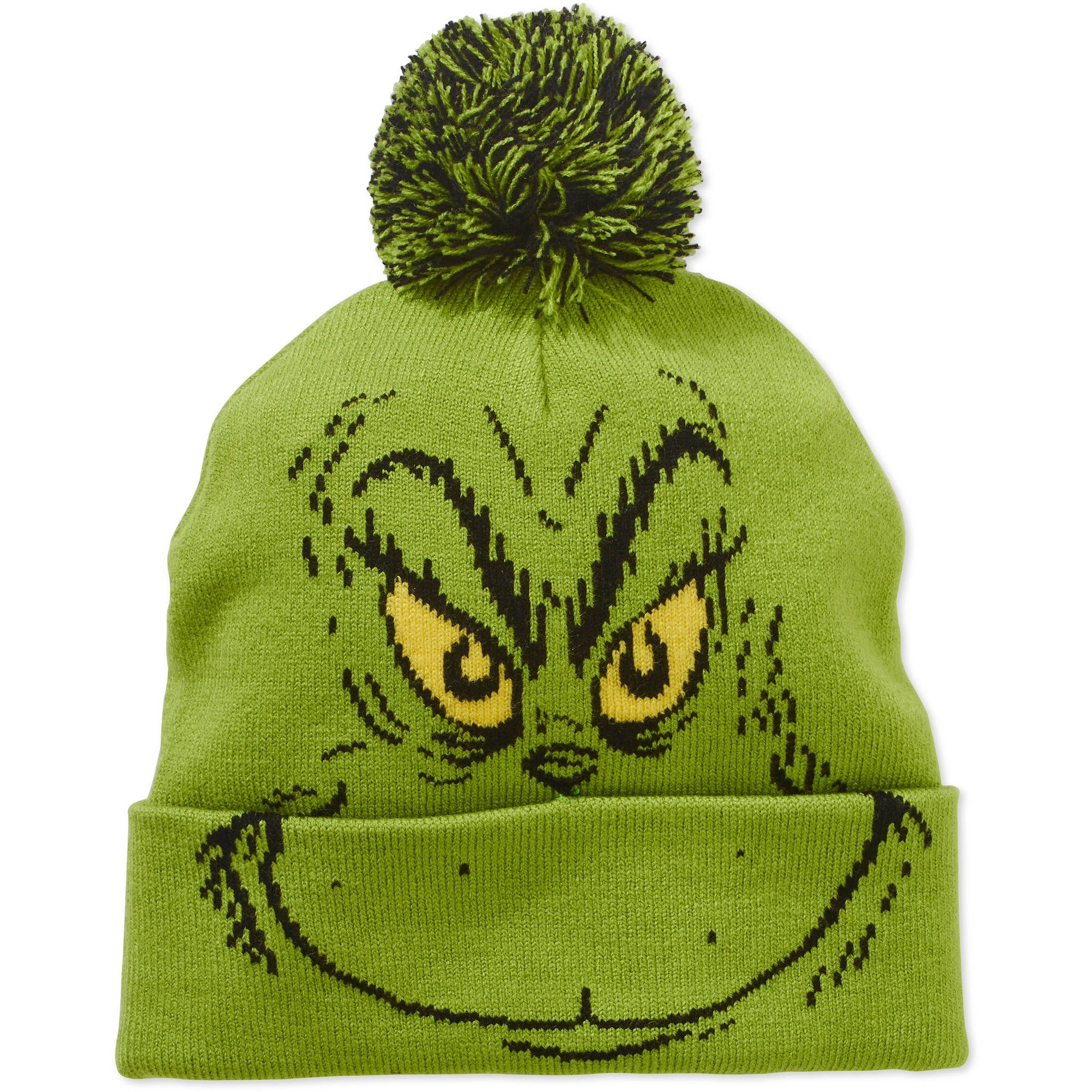 License - Women s Grinch Cuff Pom Knit Hat - Walmart.com 313d18fd564