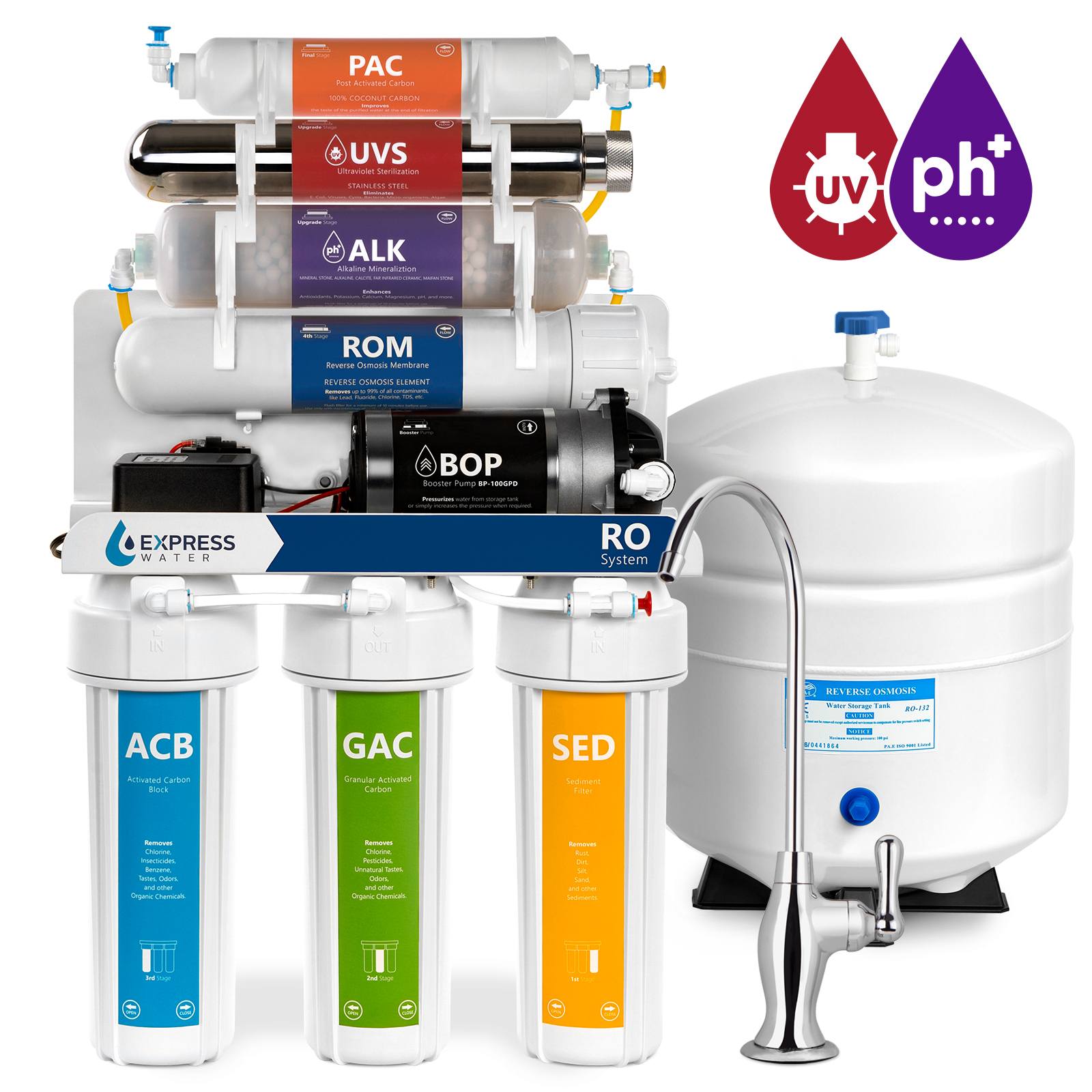 Express Water 11-Stage Reverse Osmosis Alkaline Remineralization + UV Ultraviolet Filter System with Booster Pump 100-GPD (Deluxe)