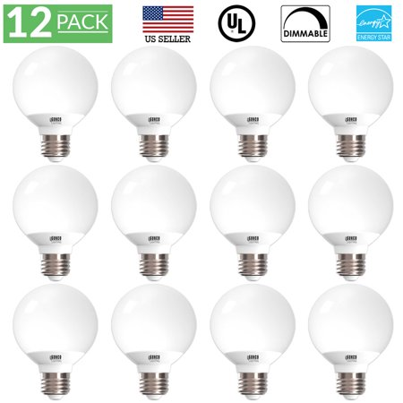 Sunco Lighting 12 Pack G25 Globe LED Light Bulb 6 Watt (40W Equivalent), 5000K Kelvin Daylight 450 Lumens, Dimmable, Omnidirectional Vanity Mirror Light, Energy Efficient - UL & ENERGY STAR LISTED