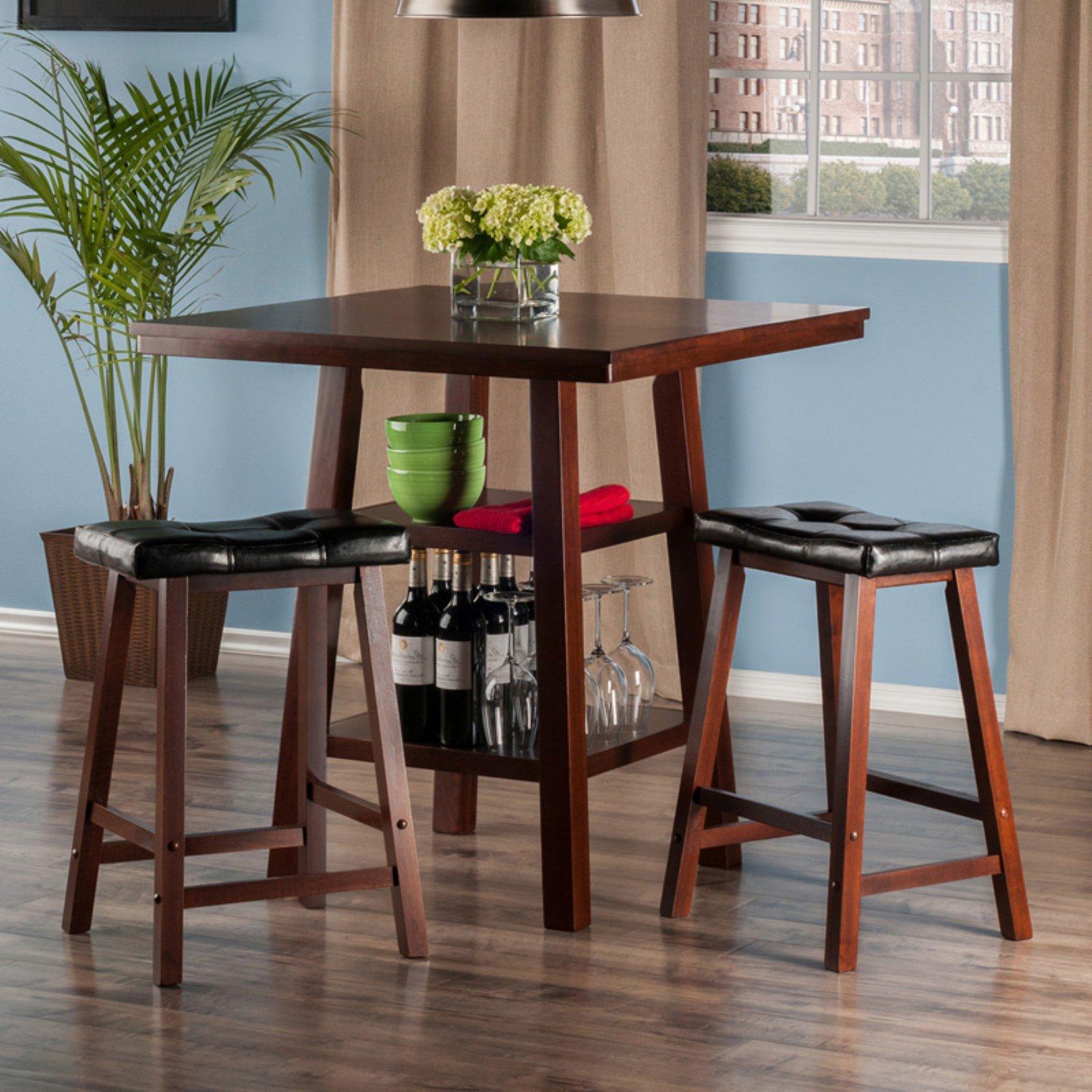 Orlando 3-Pc Set High Table, 2 Shelves w/ 2 Cushion Seat Stools