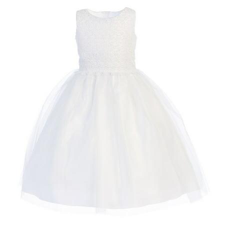 Little Girls White Lace Bodice Tulle Tea-Length Communion Dress 6